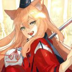 1girl animal_ear_fluff animal_ears blonde_hair breasts commentary_request fangs fate/extra fate/extra_ccc fate/extra_ccc_fox_tail fate_(series) fox_ears hat karasawa201 large_breasts long_hair looking_at_viewer open_mouth red_ribbon ribbon smile solo suzuka_gozen_(fate) yellow_eyes