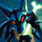 blue_fur bone canine gen_4_pokemon glowing kenket lucario no_humans pokemon red_sclera spikes