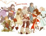 absurdres alfyn_(octopath_traveler) armor blonde_hair bracelet braided_ponytail brown_hair cloak cyrus_(octopath_traveler) dancer dress fringe_trim gloves h'aanit_(octopath_traveler) hahahashagi hat highres jewelry linde_(octopath_traveler) long_hair multiple_boys multiple_girls necklace octopath_traveler olberic_eisenberg open_mouth ophilia_(octopath_traveler) ponytail primrose_azelhart short_hair simple_background smile snow_leopard therion_(octopath_traveler) tressa_(octopath_traveler)