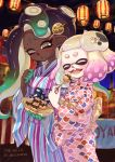 2girls cat cephalopod_eyes closed_eyes commentary dark_skin domino_mask eating festival food hair_ornament highres hime_(splatoon) holding holding_food iida_(splatoon) jajji-kun_(splatoon) japanese_clothes kimono lantern mask mask_on_head matchaneko mole mole_under_mouth multicolored multicolored_skin multiple_girls obi octarian open_mouth paper_lantern sash smile splatoon splatoon_(series) splatoon_2 suction_cups summer_festival takoyaki tentacle_hair wide_sleeves yukata