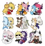 1boy 6+girls ahoge animal_costume animal_ears asterios_(fate/grand_order) black_pupils blonde_hair blue_eyes blush braid bug butterfly chibi closed_eyes closed_mouth commentary_request dark_skin dragon_tail elizabeth_bathory_(fate) elizabeth_bathory_(fate)_(all) euryale eyebrows_visible_through_hair fate/extra fate/extra_ccc fate/grand_order fate_(series) fou_(fate/grand_order) fox_ears fox_tail french_braid fujimaru_ritsuka_(male) glasses green_eyes hair_ornament hair_ribbon hairband heart heart-shaped_pupils horns insect jeanne_d'arc_(alter)_(fate) jeanne_d'arc_(fate)_(all) jeanne_d'arc_(swimsuit_archer) jeanne_d'arc_alter_santa_lily kou_mashiro long_hair looking_at_viewer mash_kyrielight minamoto_no_raikou_(fate/grand_order) multiple_girls nero_claudius_(fate) nero_claudius_(fate)_(all) object_hug one_eye_closed open_mouth pink_hair pointy_ears purple_hair red_eyes reindeer_costume ribbon sakata_kintoki_(fate/grand_order) short_hair simple_background single_braid smile stuffed_animal stuffed_cat stuffed_dolphin stuffed_dragon stuffed_fox stuffed_reindeer stuffed_toy symbol-shaped_pupils tail tamamo_(fate)_(all) tamamo_no_mae_(fate) twintails violet_eyes white_background white_hair yellow_butterfly yellow_eyes