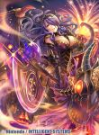 1girl armor axe breasts camilla_(fire_emblem_if) cleavage company_name elbow_gloves fire fire_emblem fire_emblem_cipher fire_emblem_if fumi_(butakotai) glint gloves hair_over_one_eye holding holding_axe large_breasts long_hair looking_at_viewer nintendo official_art open_mouth purple_gloves purple_hair red_eyes smile solo tiara very_long_hair violet_eyes watermark wavy_hair wings
