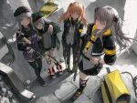 404_(girls_frontline) 4girls arm_hug armband assault_rifle backlighting bangs bare_shoulders belt beret black_footwear black_hat black_jacket black_legwear black_neckwear black_ribbon black_scarf black_shorts black_skirt blunt_bangs boots breasts brown_hair buttons cable closed_eyes closed_mouth collared_shirt commentary_request cross-laced_footwear day dress_shirt egk513 facial_mark finger_on_trigger floating_hair from_above g11_(girls_frontline) girls_frontline gloves green_eyes green_hat green_jacket grey_hair grey_shirt grey_skirt gun h&k_ump hair_between_eyes hair_ornament hairclip hand_on_hip hat heckler_&_koch highres hk416 hk416_(girls_frontline) holding holding_gun holding_weapon hood hood_down hooded_jacket jacket knee_pads kneehighs large_breasts leaning_on_person long_hair long_sleeves looking_at_viewer military military_uniform miniskirt multiple_girls neck_ribbon necktie off_shoulder one_eye_closed one_side_up open_clothes open_jacket orange_eyes outdoors pantyhose parted_lips plaid plaid_skirt pleated_skirt ribbon rifle ruins scar scar_across_eye scarf shadow shirt shoes short_shorts shorts sidelocks silver_hair skirt sleeveless sleeveless_shirt sleeves_past_wrists smile standing strap_slip submachine_gun thigh-highs twintails ump45_(girls_frontline) ump9_(girls_frontline) uniform weapon white_footwear white_gloves wristband yellow_eyes yellow_neckwear zettai_ryouiki