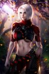 assassin ayya_saparniyazova belly commission fantasy mmo original pinup sword warrior weapon white_hair