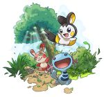 :d creatures_(company) day drawfag emolga game_freak gen_2_pokemon gen_3_pokemon gen_5_pokemon grass highres nintendo no_humans open_mouth outdoors path pokemon pokemon_(creature) pokemon_(game) road rock smile spinda standing sunlight transparent_background tree twig wooper