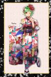 1girl black_hairband bleach brown_eyes character_name floral_print flower full_body green_hair hair_flower hair_ornament hairband japanese_clothes kimono kuna_mashiro leg_up long_sleeves looking_at_viewer obi one_eye_closed parted_lips pink_flower print_kimono red_flower sash short_hair solo standing standing_on_one_leg umi_(pixiv6861961) white_legwear wide_sleeves yukata