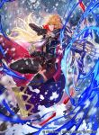 1girl armor arrow bangs blonde_hair boots bow_(weapon) cape closed_mouth company_connection copyright_name elbow_gloves fingerless_gloves fingernails fire_emblem fire_emblem:_monshou_no_nazo fire_emblem_cipher gloves holding holding_bow_(weapon) holding_weapon kuraine leg_up long_hair looking_at_viewer mayo_(becky2006) miniskirt nintendo official_art quiver simple_background skirt sleeveless thigh-highs thigh_boots weapon zettai_ryouiki