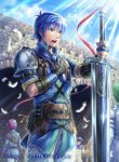 4boys animal aqua_eyes armor bangs belt_pouch bird blue_eyes blue_sky clouds cloudy_sky commentary_request company_connection copyright_name day faceless faceless_male feathers fire_emblem fire_emblem:_monshou_no_nazo fire_emblem_cipher gloves hand_on_own_chest holding horse intelligent_systems kazura_enji kris_(fire_emblem) kris_(fire_emblem)_(male) male_my_unit_(fire_emblem:_shin_monshou_no_nazo) multiple_boys my_unit_(fire_emblem:_shin_monshou_no_nazo) nintendo official_art open_mouth outdoors pants pouch shiny shiny_hair short_hair short_sleeves sky sunlight sword weapon