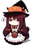 1girl apron basket black_hat blush bow bowtie brown_hair candy chibi closed_mouth commentary dated ears_down food full_body hair_bow hat holding holding_basket jack-o'-lantern jitome konshin long_hair musical_note orange_bow orange_neckwear original red_eyes signature simple_background solo sparkle spoken_musical_note symbol_commentary very_long_hair white_apron white_background