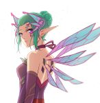1girl alternate_costume aqua_hair bare_shoulders breasts choker dress elbow_gloves fairy fairy_wings from_behind gloves hair_bun hair_ornament highres looking_at_viewer looking_back looking_to_the_side mechanical_wings medium_breasts mercy_(overwatch) overwatch purple_dress purple_gloves purple_ribbon qingchen_(694757286) ribbon ribbon_choker short_hair simple_background sleeveless sleeveless_dress solo sparkle sugar_plum_fairy_mercy upper_body violet_eyes white_background wings