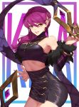 1girl bare_shoulders black_skirt breasts claws cowboy_shot evelynn fur_trim hair_ornament high-waist_skirt hips jewelry k/da_(league_of_legends) k/da_evelynn kan_(rainconan) league_of_legends lipstick long_hair looking_at_viewer makeup medium_breasts necklace off_shoulder parted_lips purple_hair red_lipstick side_ponytail skirt smile solo yellow_eyes