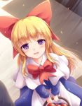 1girl :d apron basket blonde_hair blue_dress bow bowtie capelet commentary_request dress eyebrows_visible_through_hair eyes_visible_through_hair hair_bow highres holding holding_basket long_hair long_sleeves looking_at_viewer lzh open_mouth red_bow red_neckwear shanghai_doll smile solo touhou violet_eyes waist_apron white_capelet
