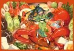 +_+ 1girl ankle_grab bangs black_hair border cup eyebrows_visible_through_hair food food_request geta green_eyes green_kimono green_ribbon hair_ribbon japanese_clothes kimono lobster long_hair looking_back looking_down mushroom obi original ponytail ribbon rope sakazuki sash shi_jun_ti shimenawa soup standing tabi tentacle very_long_hair