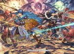 2boys armor blue_eyes blue_hair commentary_request company_name copyright_name dragon fire_emblem fire_emblem:_monshou_no_nazo fire_emblem_cipher gloves helmet holding holding_sword holding_weapon intelligent_systems izuka_daisuke kris_(fire_emblem) kris_(fire_emblem)_(male) male_my_unit_(fire_emblem:_shin_monshou_no_nazo) marth multiple_boys my_unit_(fire_emblem:_shin_monshou_no_nazo) nintendo official_art open_mouth short_hair super_smash_bros. sword weapon