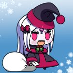 1girl :d abigail_williams_(fate/grand_order) alternate_costume bangs black_bow black_capelet black_dress black_hat blush_stickers bow capelet chibi dress eyebrows_visible_through_hair fate/grand_order fate_(series) full_body glowing hair_bow hat holding holding_sack long_hair long_sleeves looking_at_viewer maximilian-destroyer meme open_mouth padoru pale_skin parted_bangs pink_eyes red_bow sack santa_costume santa_hat sharp_teeth silver_hair sleeves_past_wrists smile snowflakes solo teeth v-shaped_eyebrows very_long_hair wide_sleeves