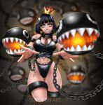 1girl absurdres bangs black_eyes black_hair black_swimsuit blunt_bangs bob_cut breasts chain_chomp chains cleavage collar commentary_request constricted_pupils cropped_legs crown eyelashes french_commentary gluteal_fold highres large_breasts lipstick looking_at_viewer makeup mario_(series) meme_attire navel navel_cutout new_super_mario_bros._u_deluxe nintendo one-piece_swimsuit princess_chain_chomp reaching_out sharkini sharp_teeth short_hair soft_focus solo super_crown surgeon-art swimsuit teeth thigh_gap watermark