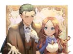1boy 1girl ;) alle_gro bangs blue_bow blue_eyes blue_gloves blush bow breasts brown_hair brown_jacket brown_vest closed_mouth collared_shirt commentary_request elbow_gloves fate/grand_order fate_(series) finger_to_mouth forehead gloves green_eyes green_hair jacket leonardo_da_vinci_(fate/grand_order) long_hair one_eye_closed open_clothes open_jacket parted_bangs puff_and_slash_sleeves puffy_short_sleeves puffy_sleeves sherlock_holmes_(fate/grand_order) shirt short_sleeves small_breasts smile upper_body vest white_gloves white_shirt