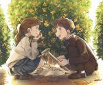 1boy 1girl :d autumn_leaves bangs black_pants black_shirt blue_skirt box brown_hair bush chin_rest commentary_request envelope gakuran holding kana_(okitasougo222) loafers long_hair long_sleeves looking_at_another open_mouth original outdoors pants plaid plaid_skirt pleated_skirt ponytail school_uniform serafuku shirt shoes skirt smile squatting trowel