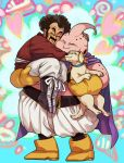 2boys ^_^ animal aqua_background bee_(dragon_ball) black_hair boots cape carrying cheek-to-cheek closed_eyes closed_eyes dog dragon_ball dragonball_z facial_hair full_body gloves happy heart heart_background hug kinjuu_(hariharitt) majin_buu male_focus mr._satan multicolored multicolored_background multiple_boys mustache pink_background smile standing white_background yellow_gloves