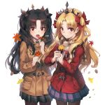 2girls :o autumn_leaves bangs black_hair blonde_hair blush bow brown_coat brown_legwear closed_mouth coat commentary_request cowboy_shot duffel_coat ereshkigal_(fate/grand_order) eyebrows_visible_through_hair fate/grand_order fate_(series) fingernails food food_request grey_skirt hair_between_eyes hair_bow highres holding holding_food ishtar_(fate/grand_order) kyjsogom leaf long_hair long_sleeves maple_leaf multiple_girls open_mouth own_hands_together pantyhose parted_bangs plaid plaid_skirt pleated_skirt purple_skirt red_bow red_coat red_eyes round_teeth signature simple_background skirt smile sweet_potato teeth tiara two_side_up upper_teeth very_long_hair white_background