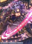 1girl armor ass axe black_gloves breasts camilla_(fire_emblem_if) castle cleavage company_name elbow_gloves fire fire_emblem fire_emblem_cipher fire_emblem_if fumi_(butakotai) gauntlets gloves hair_over_one_eye holding holding_axe horns large_breasts lizard long_hair nintendo official_art outdoors pegasus_knight purple_hair slashing smile solo very_long_hair violet_eyes wavy_hair yellow_sclera