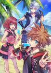 1girl 2boys beach belt blue_eyes blue_sky brown_hair clouds fingerless_gloves food food_in_mouth gloves hand_on_hip hood hooded_jacket jacket jewelry kairi_(kingdom_hearts) kingdom_hearts kingdom_hearts_iii looking_at_viewer multiple_boys necklace ocean one_eye_closed palm_tree popsicle redhead riku sand short_hair silver_hair sky smile sora_(kingdom_hearts) spiky_hair standing sweatdrop tree v-neck yurichi_(artist) zipper zipper_pull_tab