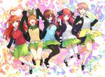 5girls ahoge bangs black_jacket black_legwear black_sweater blue_eyes blue_sweater blush bow breasts brown_hair closed_eyes clothes_around_waist fingernails go-toubun_no_hanayome green_skirt hair_between_eyes hair_ornament hair_ribbon hand_holding haruba_negi headphones headphones_around_neck highres jacket jumping long_hair medium_breasts multiple_girls nail_polish nakano_ichika nakano_itsuki nakano_miku nakano_nino nakano_yotsuba open_mouth orange_hair pantyhose pink_hair red_sweater redhead ribbon school_uniform shirt short_hair skirt smile socks star star_hair_ornament sweater sweater_around_waist thigh-highs white_legwear white_shirt yellow_sweater