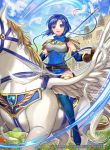 1girl armor bangs belt blue_eyes blue_hair blue_sky breastplate castle clouds cloudy_sky company_connection copyright_name day dress elbow_gloves feathered_wings feathers fingerless_gloves fire_emblem fire_emblem:_monshou_no_nazo fire_emblem_cipher gloves headband holding holding_weapon horseback_riding katua looking_at_viewer matsurika_youko nintendo official_art outdoors parted_lips pegasus pegasus_knight polearm rainbow riding shiny shiny_clothes shiny_hair shiny_skin short_dress short_hair shoulder_armor sky sleeveless smile spear thigh-highs weapon wings