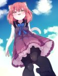 1girl animal_ears black_dress black_legwear bloomers brown_hair cat_ears cat_tail clouds dress fangs feet from_below furry green_eyes highres looking_down no_shoes open_mouth original pantyhose short_hair sky sleeveless sleeveless_dress smile solo tail underwear yuuki_(yuyuki000)