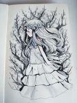 1girl ano_hi_mita_hana_no_namae_wo_bokutachi_wa_mada_shiranai. arms_at_sides blue_ribbon closed_eyes closed_mouth commentary crisalys dress english_commentary head_wreath highres honma_meiko layered_dress long_hair neck_ribbon profile ribbon solo white_dress