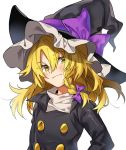 1girl bangs black_hat black_jacket blonde_hair blush bow braid commentary_request eyebrows_visible_through_hair hair_between_eyes hair_bow hat hat_bow head_tilt jacket kirisame_marisa long_hair long_sleeves looking_at_viewer manarou purple_bow shirt simple_background single_braid smile solo touhou upper_body white_background white_shirt yellow_eyes