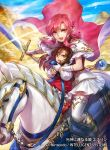 2girls animal armor armored_boots boots brown_eyes brown_hair cape child company_name copyright_name day dress ethlin_(fire_emblem) fire_emblem fire_emblem:_seisen_no_keifu fire_emblem_cipher fire_emblem_heroes gloves hairband holding holding_sword holding_weapon horse horseback_riding long_hair looking_at_viewer multiple_girls nintendo official_art open_mouth outdoors pantyhose pink_eyes pink_hair riding shiny shiny_hair short_dress shoulder_armor sidelocks skirt sword thigh-highs uroko_(mnr) weapon white_gloves white_skirt zettai_ryouiki