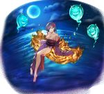 1girl barefoot breasts brown_eyes cleavage collarbone full_body hair_ornament hair_over_one_eye japanese_clothes kimono kometukimushi looking_at_viewer medium_breasts moon night no_panties off_shoulder original outdoors purple_hair purple_kimono short_hair sky soles solo star_(sky) starry_sky