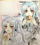 1girl 2girls :o bangs blue_hair blush bow capelet doughnut eyebrows_visible_through_hair fang food fur_trim grey_bow grey_capelet grey_neckwear grey_ribbon hair_bow hands_up highres holding holding_food len long_hair long_sleeves looking_at_viewer multiple_girls neck_ribbon open_mouth parted_bangs photo pointy_ears red_eyes ribbon sweatdrop tanaji traditional_media tsukihime upper_body white_bow white_capelet white_len white_neckwear white_ribbon