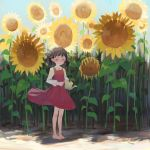 1girl absurdres bangs barefoot black_hair blue_sky day dress flower freckles full_body highres leaf light_blue_eyes long_sleeves original outdoors plant red_dress shadow shirt short_hair shrimp_cc sky solo standing sunflower watering_can white_shirt