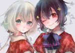 2girls absurdres black_hair bow bowtie commentary_request eyebrows_visible_through_hair grey_eyes grey_hair hair_between_eyes hair_ornament hair_ribbon highres konno_junko long_hair looking_at_viewer low_twintails mizuno_ai multiple_girls one_eye_closed red_eyes ribbon short_hair twintails zombie_land_saga