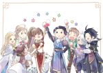 alcohol alfyn_(octopath_traveler) armor blonde_hair bracelet braided_ponytail brown_hair cape chibi cloak cyrus_(octopath_traveler) dancer dress fringe_trim gloves h'aanit_(octopath_traveler) hair_over_one_eye hat headband jewelry linde_(octopath_traveler) long_hair multiple_boys multiple_girls necklace oboro_keisuke octopath_traveler olberic_eisenberg open_mouth ophilia_(octopath_traveler) ponytail primrose_azelhart scar scarf short_hair simple_background smile snow_leopard therion_(octopath_traveler) tressa_(octopath_traveler) white_hair wine