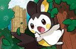 blue_sky brown_eyes commentary creature day emolga english_commentary eo_kanako full_body gen_5_pokemon multiple_sources no_humans official_art open_mouth outdoors pokemon pokemon_(creature) pokemon_trading_card_game sky solo third-party_source tree
