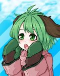 1girl adapted_costume animal_ears blue_background blush coat gloves green_eyes green_gloves green_hair hands_up highres jakomurashi kasodani_kyouko long_sleeves mittens open_mouth pink_coat short_hair solo striped striped_background teeth touhou two-tone_background upper_body winter_clothes winter_coat