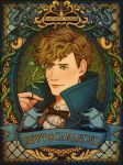 1boy artist_name bow bowtie bowtruckle brown_hair character_name closed_eyes copyright_name fantastic_beasts_and_where_to_find_them freckles green_eyes highres leaf male_focus newt_scamander niffler occamy ponsu_(ponzuxponzu) scar solo wings