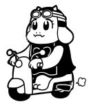 1girl =3 animal_ears bkub commentary_request dress driving goat_ears goat_girl goggles goggles_on_headwear greyscale ground_vehicle helmet monochrome monster_girl motor_vehicle motorcycle motorcycle_helmet simple_background solo tabard toriel undertale white_background