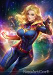 1girl abs blonde_hair blue_eyes bodysuit breasts captain_marvel carol_danvers earrings fingerless_gloves gloves highres impossible_bodysuit impossible_clothes jewelry large_breasts marvel ms._marvel nudtawut_thongmai skin_tight sky smile solo star_(sky) starry_sky stud_earrings tagme