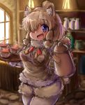 1girl :d alpaca_ears alpaca_suri_(kemono_friends) alpaca_tail animal_ears bangs blonde_hair blurry blurry_background bodystocking breast_pocket coffee_pot commentary_request cup day drink eyebrows_visible_through_hair fur-trimmed_sleeves fur_scarf fur_trim hair_bun hair_over_one_eye hands_up highres holding holding_pot holding_tray indoors kemono_friends light long_sleeves looking_at_viewer medium_hair neck_ribbon open_mouth pocket ribbon scarf shiitake_fuumi shorts smile solo standing sweater_vest tail tongue tray upper_body violet_eyes window