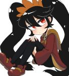 1girl ashley_(warioware) black_hair dress hairband legs_up lkll long_hair looking_to_the_side nintendo pantyhose red_dress red_eyes solo very_long_hair warioware white_background