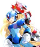 2boys android back-to-back blonde_hair blue_eyes gloves green_eyes helmet long_hair male_focus multiple_boys rockman rockman_x simple_background white_background white_gloves x_(rockman) yuriyuri_(ccc) zero_(rockman)
