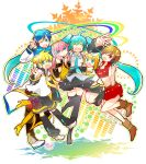 2boys 4girls 7:24 :d ;d ^_^ aqua_eyes black_skirt blue_hair blue_neckwear blush blush_stickers boots brown_eyes closed_eyes closed_eyes coat detached_sleeves eyebrows_visible_through_hair finger_to_mouth floating_hair full_body gradient gradient_background grey_shirt hair_ribbon happy hatsune_miku headset highres hug jumping kagamine_len kagamine_rin kaito long_hair looking_at_viewer megurine_luka meiko multicolored multicolored_background multiple_boys multiple_girls necktie one_eye_closed open_mouth pink_hair red_eyes red_skirt ribbon salute scarf shirt shorts simple_background skirt sleeveless sleeveless_shirt smile thigh-highs thighs twintails upper_body v very_long_hair vocaloid white_background white_ribbon