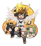 1girl 2boys angel_wings animal_ears animal_hood arm_up black_hair blush boots bracer brown_hair bunny_hood camera circlet dark_pit dated fake_animal_ears green_hair hood kid_icarus kid_icarus_uprising kinako_(462) long_hair multiple_boys nintendo palutena pit_(kid_icarus) short_hair shorts star star_rod super_smash_bros. super_smash_bros._ultimate thumbs_up toeless_boots very_long_hair wings