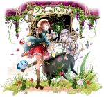 2girls :o atelier_(series) atelier_sophie blue_cape boots breasts brown_footwear brown_hair brown_ribbon cape cauldron cleavage copyright_name corset dia_(saotoko) eyebrows_visible_through_hair floating_hair frilled_skirt frills green_eyes hair_ornament highres holding leg_up long_hair looking_at_viewer medium_breasts medium_skirt multiple_girls plachta ponytail red_skirt ribbon silver_hair skirt sophie_neuenmuller thigh-highs very_long_hair white_legwear wrist_ribbon yellow_eyes