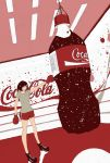 1girl barcode boots bottle brown_shirt chains coca-cola commentary_request grey_shirt original punching punching_bag red_shorts shirt short_sleeves shorts solo standing yokotakumi