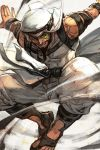 1boy bare_shoulders beard belt facial_hair grin hankuri jumping looking_at_viewer male_focus monocle pants rashid_(street_fighter) sandals smile solo street_fighter turban white_pants
